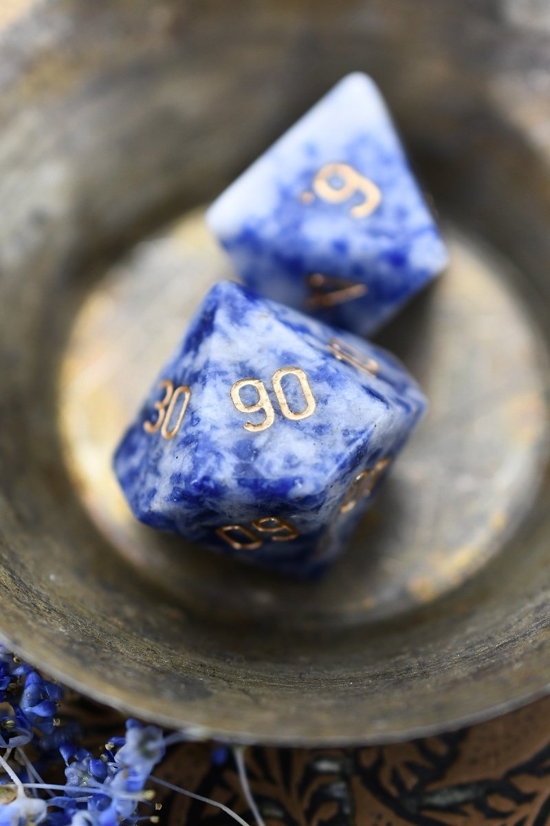 Sodalite Gemstone Dice Set - GAMETEEUK