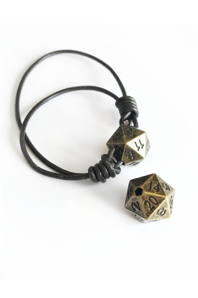 Solid Brass D20 Draw Cord Caps / Beads - GAMETEEUK