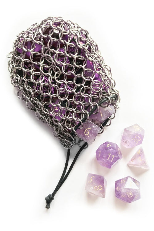Solid Steel Chainmail Dice Bag - GAMETEEUK