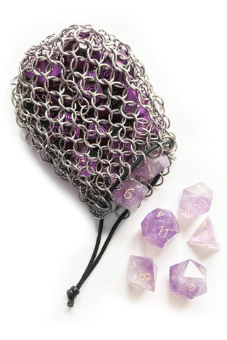 Black Stainless Steel Chainmail Dice Bag