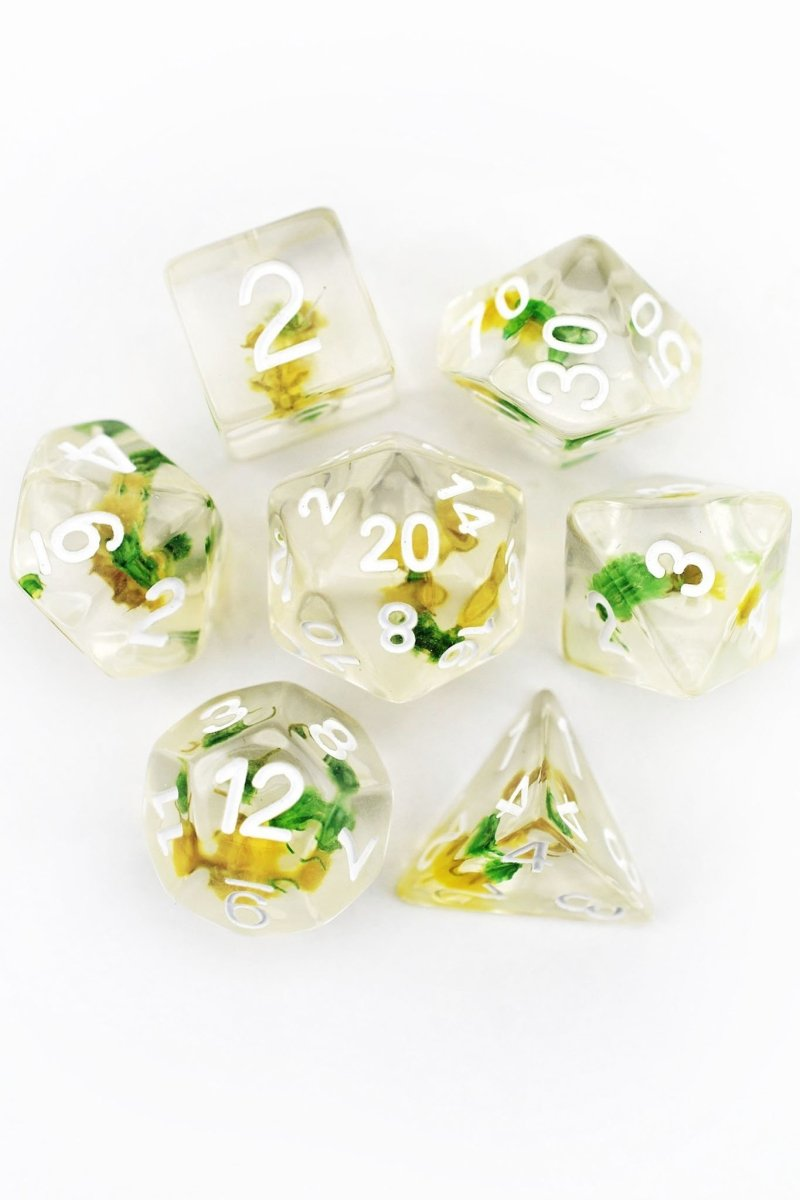 Solstice Bloom with Real Flowers - Acrylic Dice Set - GAMETEEUK