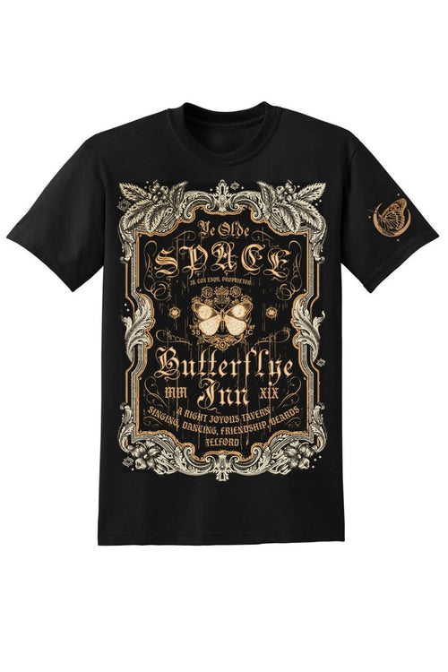 Space Butterflye Inn - Black - T-Shirt - GAMETEEUK