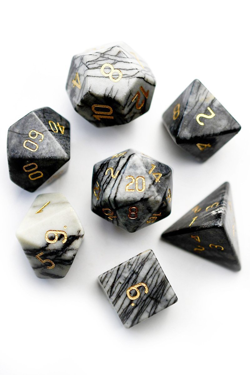 Spiderweb Jasper Gemstone Dice Set - GAMETEEUK