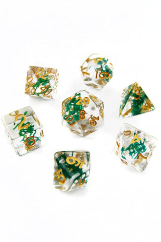 Glowing Embers with Real Moss - Acrylic Dice Set