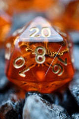 Steam Powered - Amber Acrylic Dice Set - GAMETEEUK