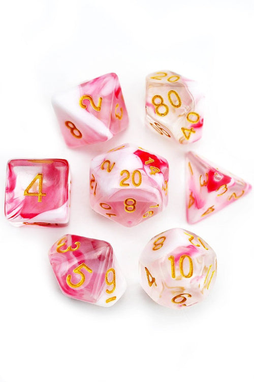 Strawberry Milkshake - Acrylic Dice Set - GAMETEEUK