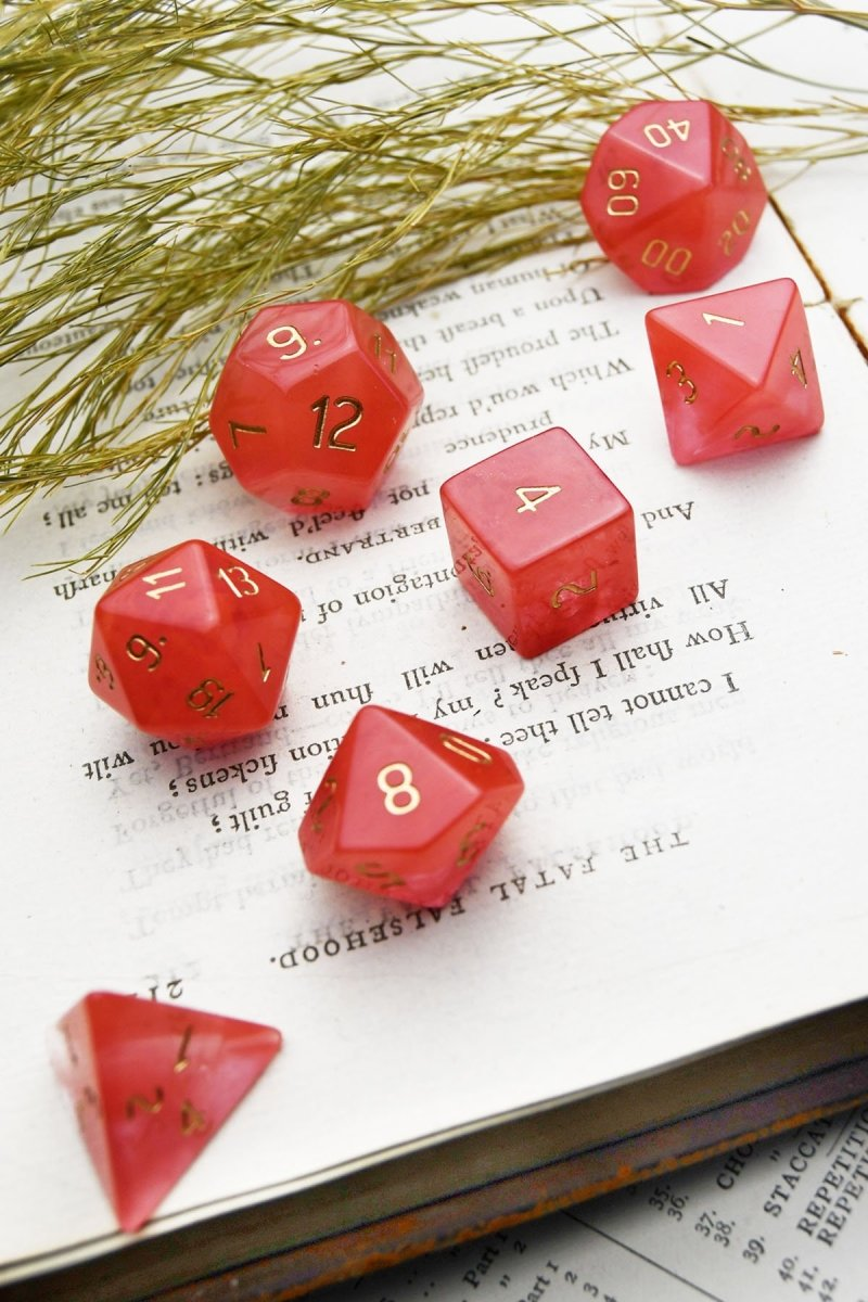 Strawberry Quartz Gemstone Dice Set - GAMETEEUK