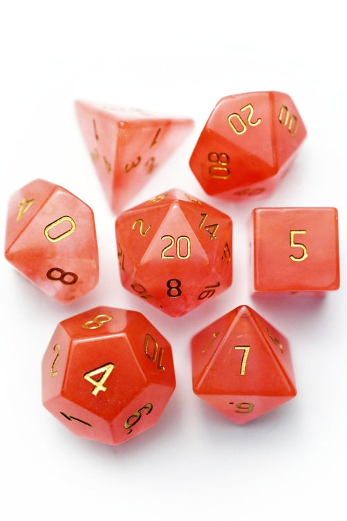 Strawberry Tourmaline Gemstone Dice Set - GAMETEEUK