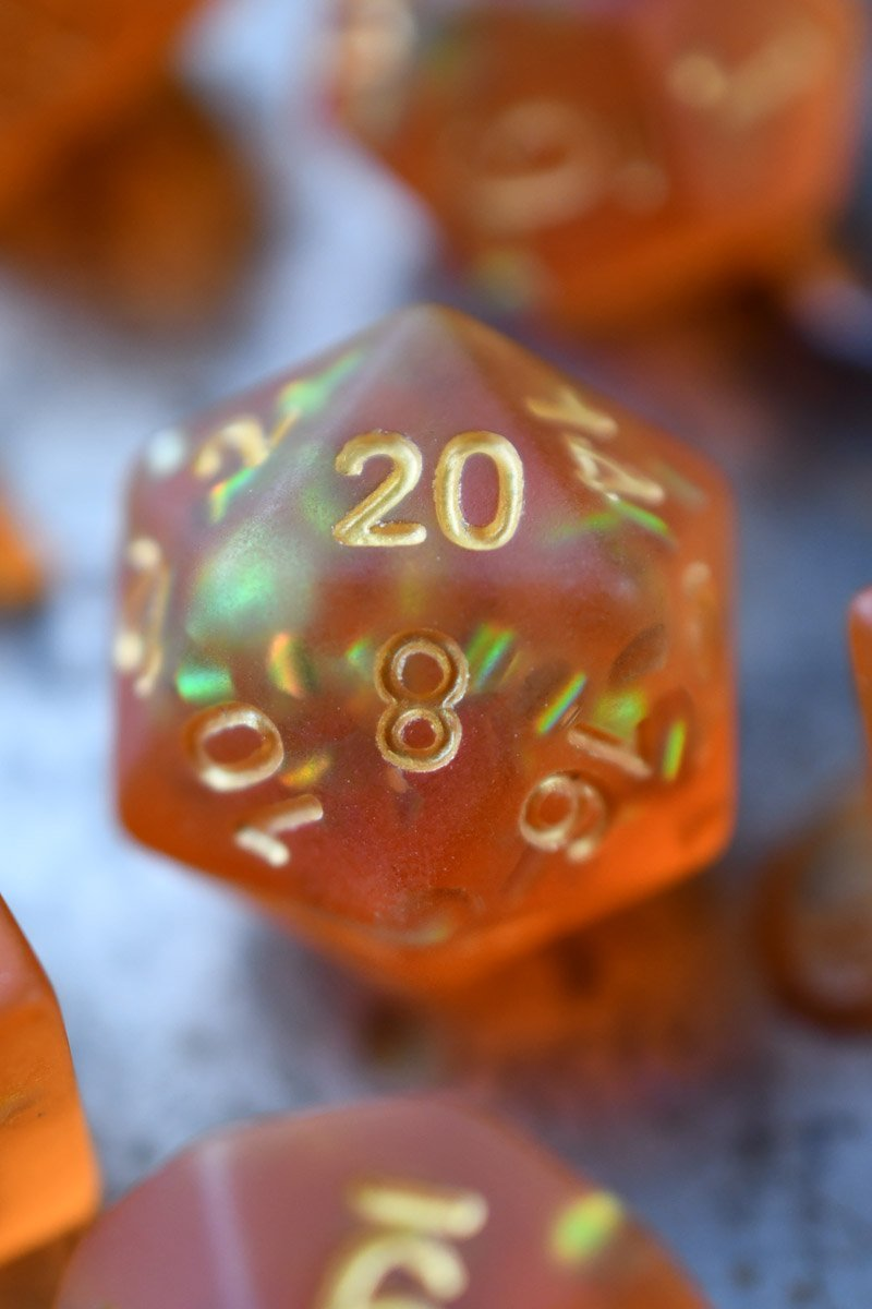 Sunset Skies - Orange Matte Frosted Acrylic Dice Set - GAMETEEUK