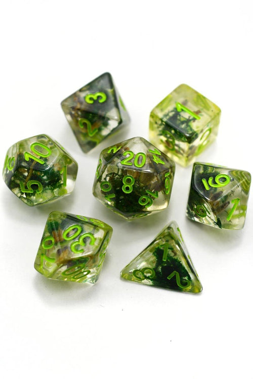 Swamp Thing - Real Moss Acrylic Dice Set - GAMETEEUK
