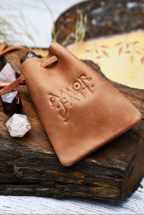 Tan Leather Dice Pouch - GAMETEEUK
