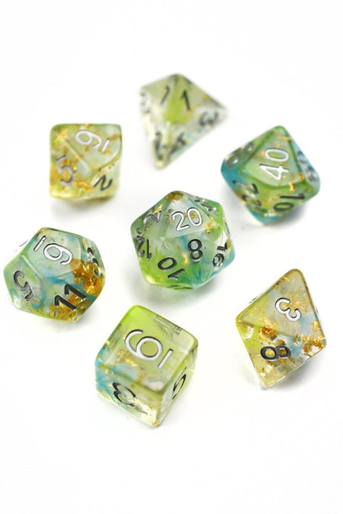 Terra Illumine 24k Gold Flake - Acrylic Dice Set - GAMETEEUK