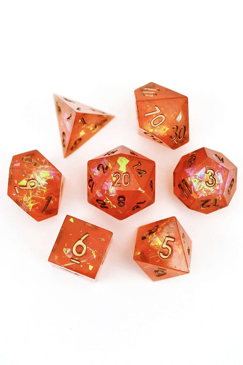 The Arcane Inferno - Sharp-Edged Resin Dice Set - GAMETEEUK