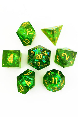 Dead Men Tell No Tales -  Skulls and Real Moss - Acrylic Dice Set