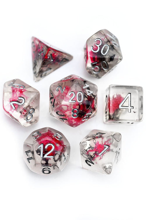 The Red Weed with Real Moss - Acrylic Dice Set - GAMETEEUK