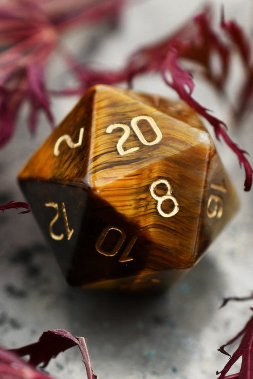 Tiger's Eye Gemstone Dice Set - GAMETEEUK