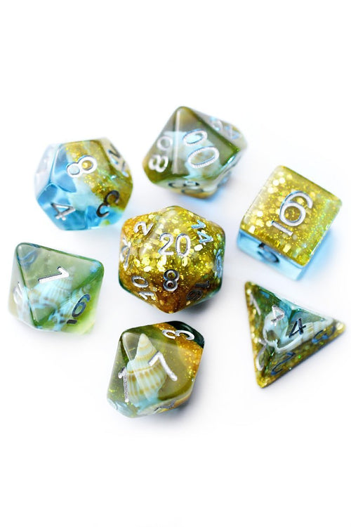 Treasure Island - Real Shells Acrylic Dice Set - GAMETEEUK