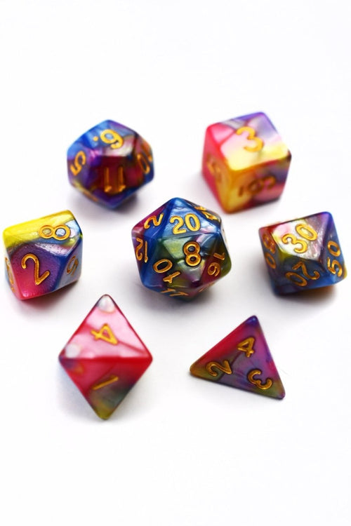 Tutti Fruiti - Harlequin Acrylic Dice Set - GAMETEEUK
