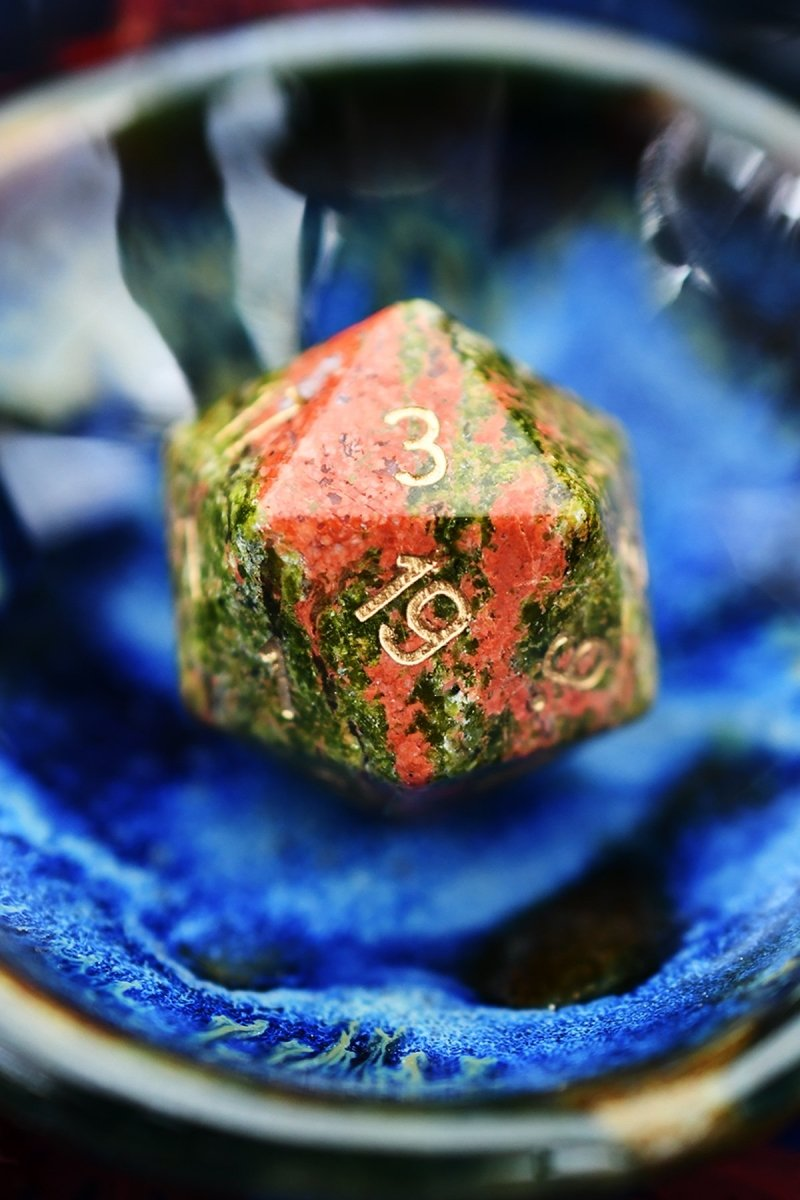 Unakite Gemstone Dice Set - GAMETEEUK