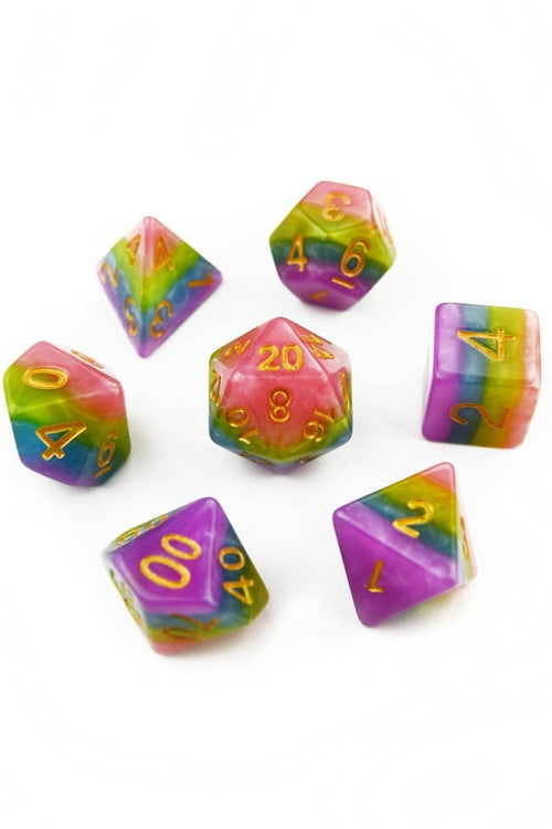 Unicorn - Opalescent Acrylic Dice Set - GAMETEEUK
