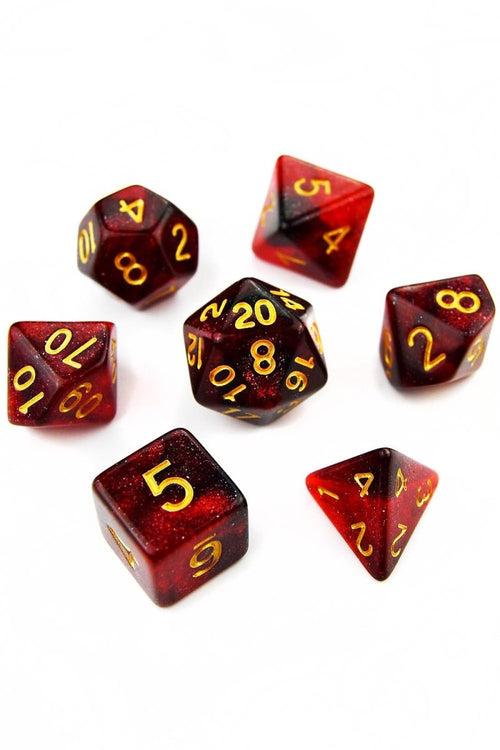 Vampiric Kiss - Blood Drop Acrylic Dice Set - GAMETEEUK