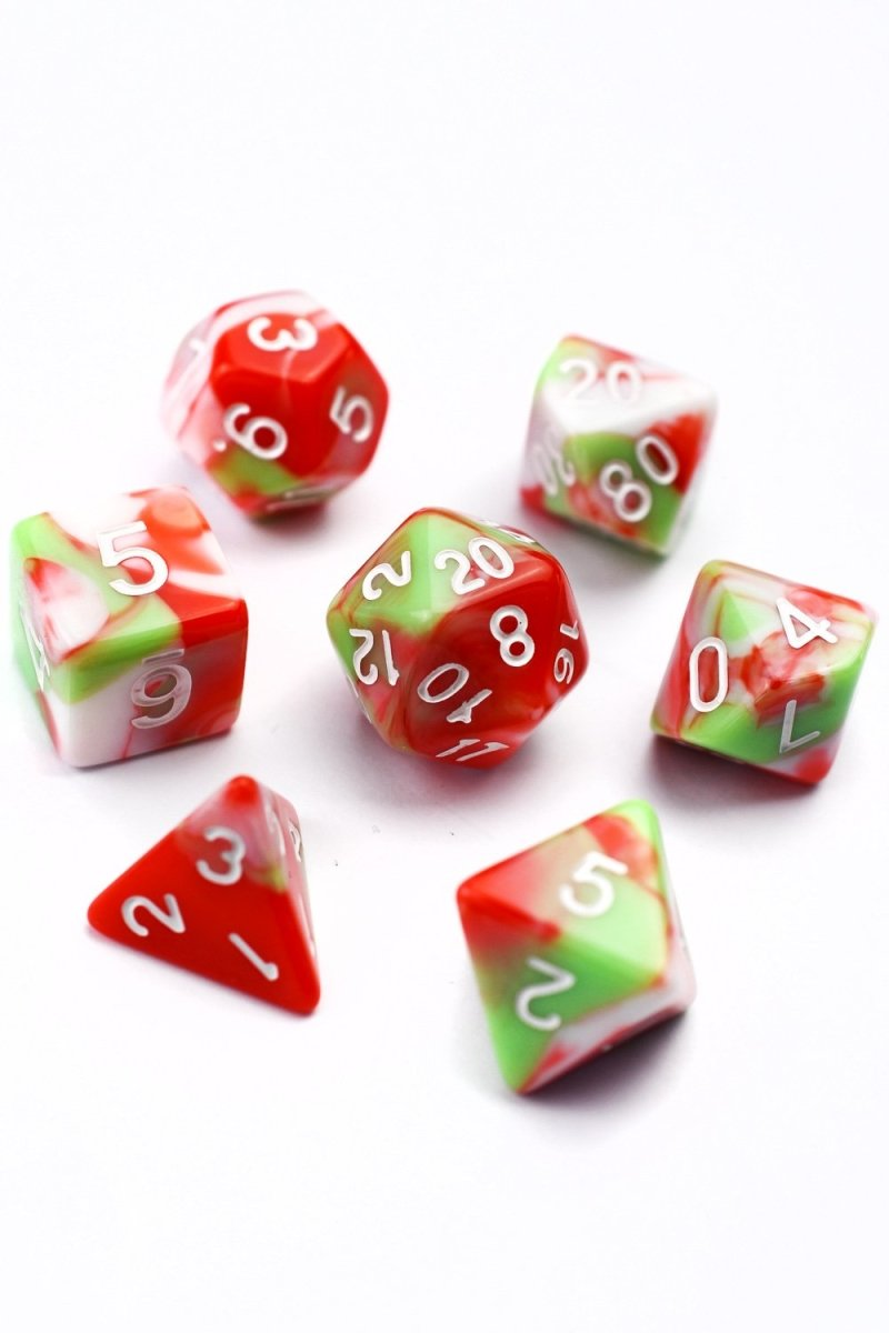 Watermelon Sherbert - Harlequin Acrylic Dice Set - GAMETEEUK