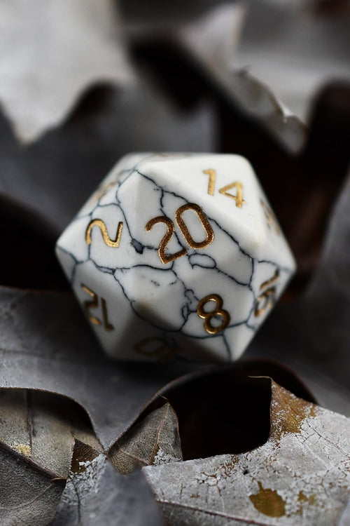 White Howlite Gemstone Dice Set - GAMETEEUK