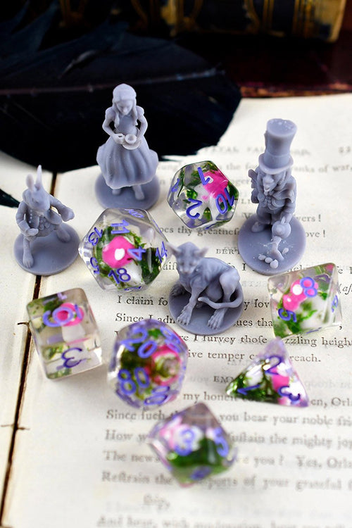 Wonderland - Tiny Mushrooms Acrylic Dice Set - GAMETEEUK