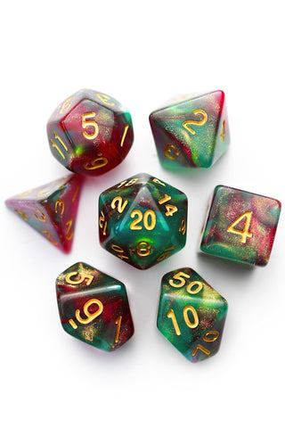 Cosmic Seas - Gold and Holographic Flake Acrylic Dice Set