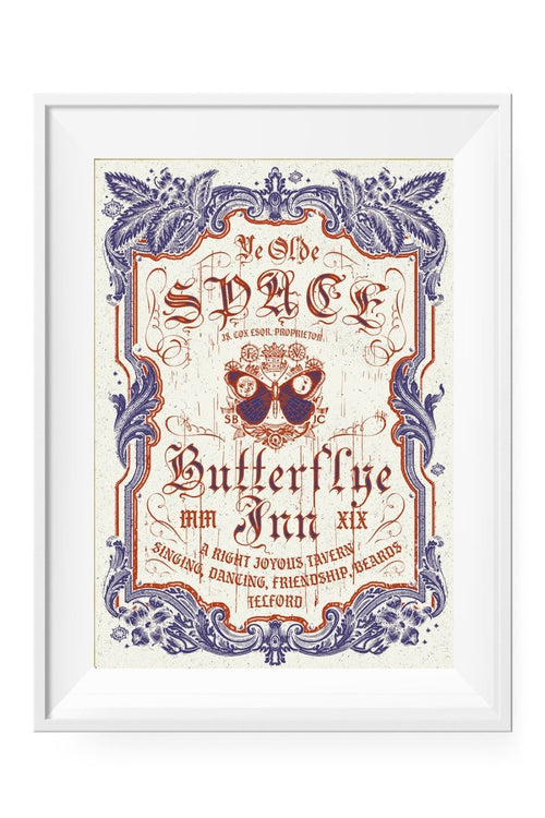 Ye Olde Space Butterflye Inn - Art Print - GAMETEEUK