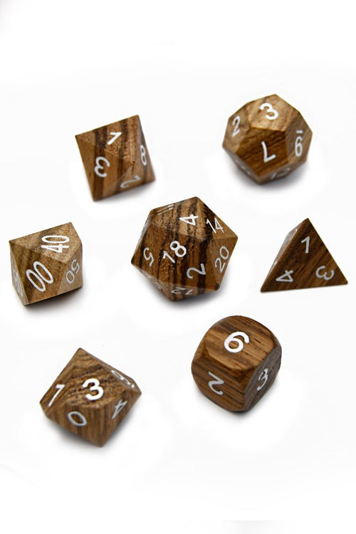 Zebrawood Wooden Dice Set - GAMETEEUK