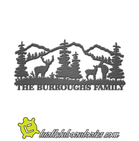 Custom Deer Scene Family Name Sign