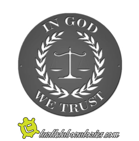 In God We Trust Justice Scales