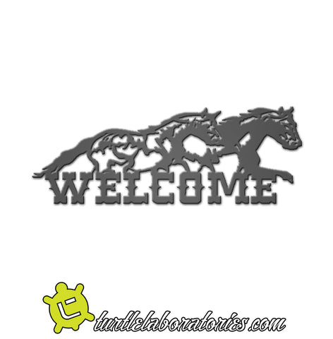 Welcome Running Horses Sign