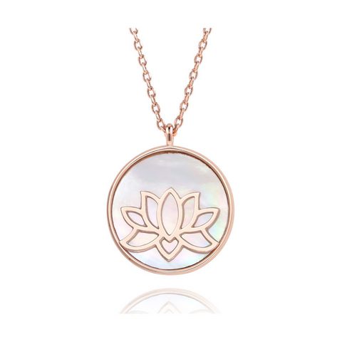 rose gold lotus flower peace necklace pendant spiritual yoga jewelry
