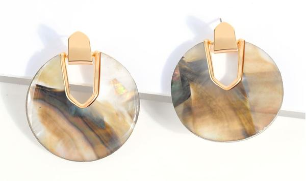 natural tortoise shell disk earrings for women
