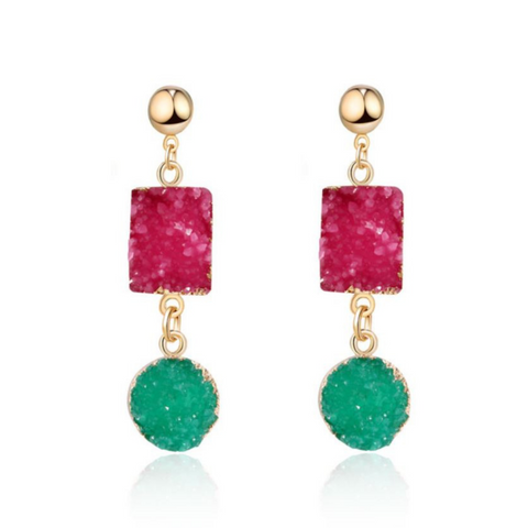 colorful designer jewelry style bright color gold earrings runway style trends