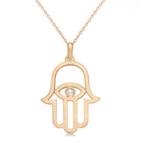 gold evil eye hamsa hand protection necklace charm spiritual yoga jewelry