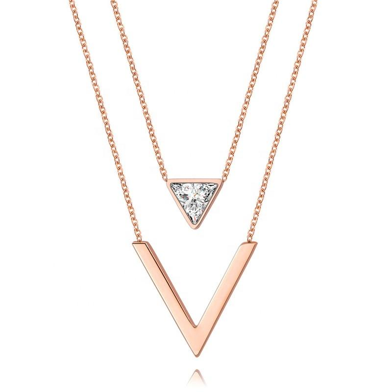 rose gold double chain layering necklace