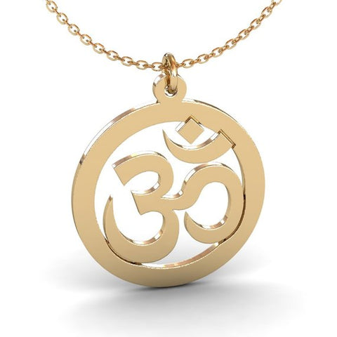 Gold Plated Om Symbol Yoga Necklace Spiritual Jewelry