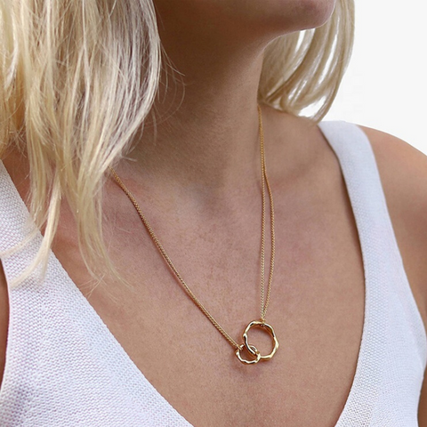 gold infinity necklace symbol two circles rings linked charm gold pendant
