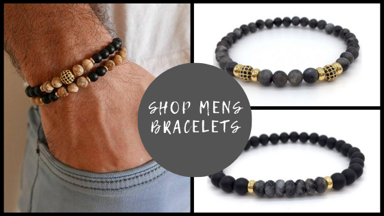 Mens Black Beaded Mala Yoga Bracelets Spiritual