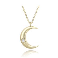 Load image into Gallery viewer, 14k gold crescent moon pendant layering necklace charm celestial