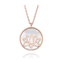 Load image into Gallery viewer, 14k Rose Gold Plated Lotus Peace Necklace