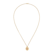 Load image into Gallery viewer, Gold Medallion Layering Necklace with Ruby Red Gemstone
