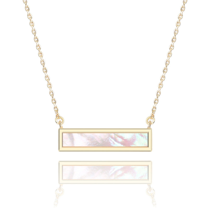14k Gold Plated Mother of Pearl Bar Necklace