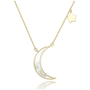 14k gold crescent moon and star layering necklace pearl