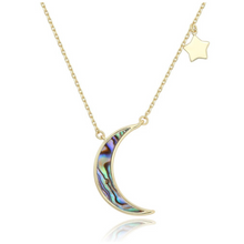 Load image into Gallery viewer, 14k gold crescent moon and star layering necklace spiritual celestial
