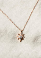 Load image into Gallery viewer, North Star Gold Charm Necklace 18k Gold Pendant Mini Star Diamond Jewelry