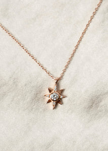 North Star Gold Charm Necklace 18k Gold Pendant Mini Star Diamond Jewelry